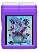 Flowers In A Vase With Lilac Border Duvet Cover