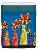 Flowers In Glass Vases Duvet Cover