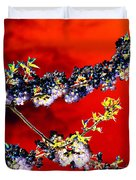 Flowers In Red Duvet Cover