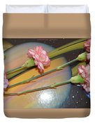 Flowers In Space Duvet Cover