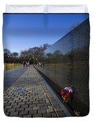 Flowers Left At The Vietnam War Memorial Duvet Cover