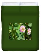 Flowers Of Pink And Orange Duvet Cover