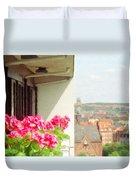 Flowers On The Balcony Duvet Cover by Jeff Kolker