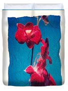 Flowers On Watercolor Paper Duvet Cover