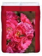 Flowers-roses-pink-bee Duvet Cover