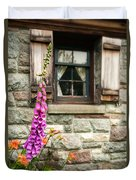 Flowers Stone And Old Country Window Duvet Cover