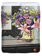 Flowers Table And Mirror In The Foyer Still Life Duvet Cover