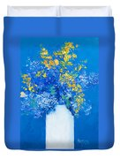Flowers With Blue Background Duvet Cover