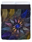 Flowery Fractal Composition With Stardust Duvet Cover