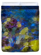 Flowing River Water And Rocks Colorful Abstract Painting Duvet Cover