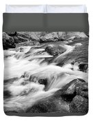 Flowing St Vrain Creek Black And White Duvet Cover