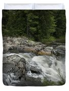 Flowing Stream With Waterfall In Vermont Duvet Cover