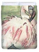 Fluffing Flamingo  Duvet Cover