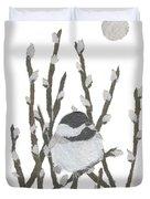 Chickadee Art Hand-torn Newspaper Collage Art By Keiko Suzuki Bless Hue Duvet Cover