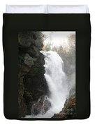 Flume Gorge Waterfall In Autumn Duvet Cover