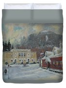 Flurries Over Mount Greylock Duvet Cover
