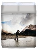 Fly Fishing At The Base Of Fitz Roy Duvet Cover