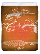 Fly Fishing Bait Patent Blueprint Drawing Sepia Duvet Cover