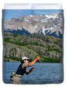 Fly Fishing In Patagonia Duvet Cover