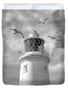 Fly Past - Seagulls Round Southwold Lighthouse In Black And White Duvet Cover