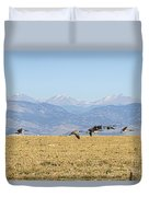 Flying Canadian Geese Rocky Mountains 2 Duvet Cover