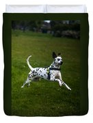 Flying Crazy Dog. Kokkie. Dalmation Dog Duvet Cover