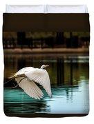 Flying Egret Duvet Cover by Robert Bales