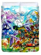 Flying Fish Tree And Bubbles Duvet Cover