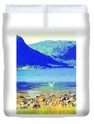 Seagull Flying Low, Mountains Standing Tall  Duvet Cover