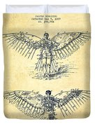 Flying Machine Patent Drawing-vintage Duvet Cover