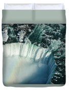 Flying Over Icy Niagara Falls Duvet Cover