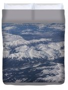 Flying Over The Snow Covered Rocky Mountains Duvet Cover