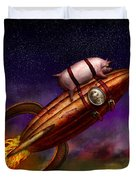 Flying Pig - Rocket - To The Moon Or Bust Duvet Cover