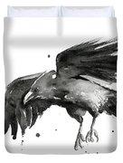 Flying Raven Watercolor Duvet Cover