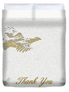 Flying Ruffed Grouse Thank You Duvet Cover