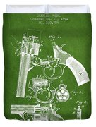 Foehl Revolver Patent Drawing From 1894 - Green Duvet Cover