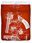 Foehl Revolver Patent Drawing From 1894 - Red Duvet Cover