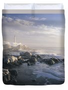 Fog And Rocky Shoreline In Winter With Duvet Cover