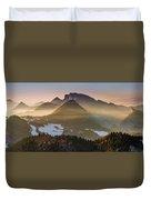 Fog Covered Mountains At Sunset Duvet Cover