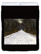 Fog On The Winter Macomb Orchard Trail Duvet Cover