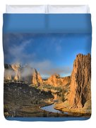 Fog Over Smith Rock Duvet Cover