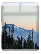 Mt. Rainier's Foggy Sunset Duvet Cover