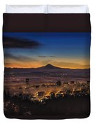 Fog Rolling In At Dawn Over The City Of Portland Duvet Cover