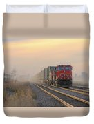 Fog Train In Winnipeg Manitoba Duvet Cover