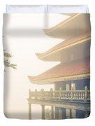 Foggy At The Reading Pagoda Duvet Cover