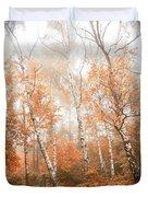Foggy Autumn Aspens Duvet Cover