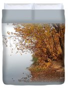 Foggy Autumn Riverbank Duvet Cover