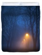 Foggy Avenue Of Trees With Path At Night No People Duvet Cover