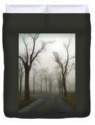 Foggy Cemetery Road Duvet Cover