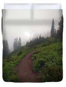 Foggy Crest Trail Duvet Cover by Mike  Dawson